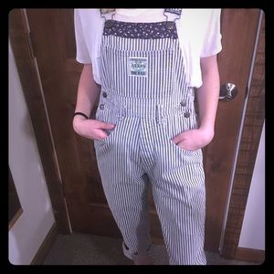 Guess black and white striped overalls